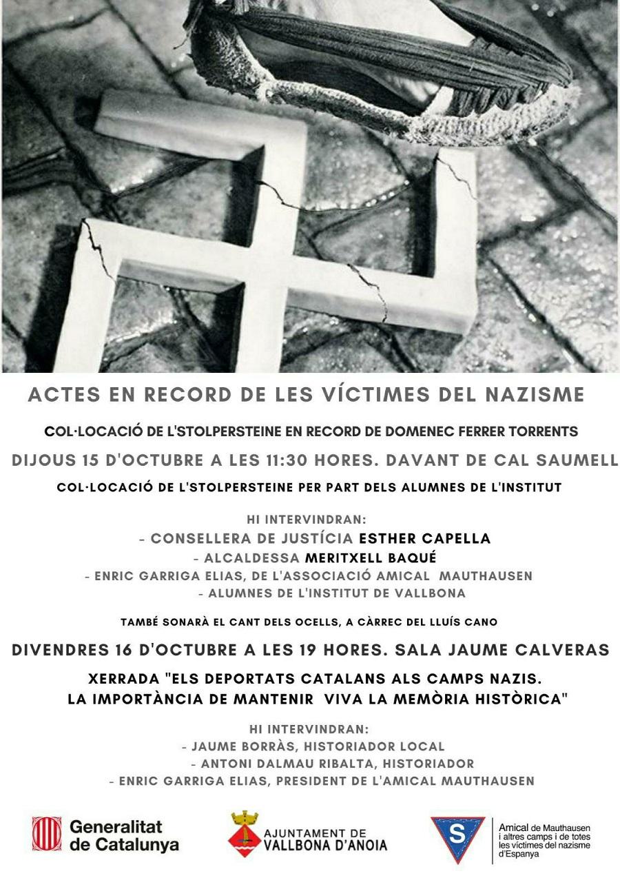 Actes en record de les víctimes del nazisme, Vallbona d'Anoia